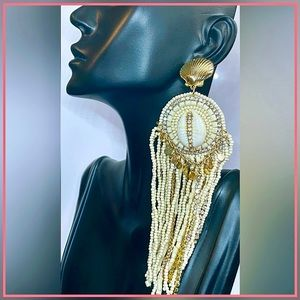 🏷 🆕 Noir Seashells & Clam Long Gold Earrings